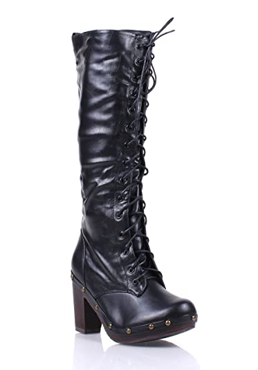 94ca2acc0465 dollhouse Narrow Fashion Rock Faux Leather Lace up Zip Womens Sexy  Knee-high Boots Winter