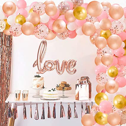 Gold Rose Balloon Garland Kit makes a 6 Feet Long Garland for Bridal Shower Baby Shower Wedding Valentine/'s Day or birthday party