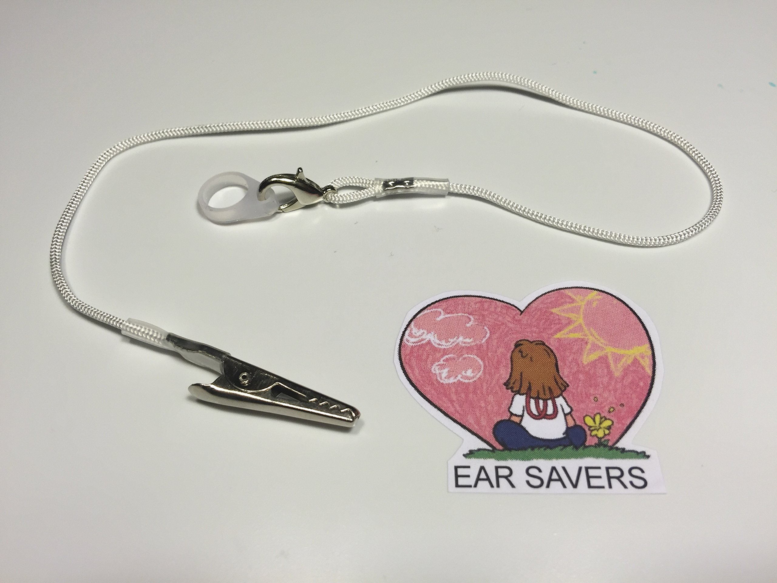 Single White Lanyard Clip for Hearing Aids or