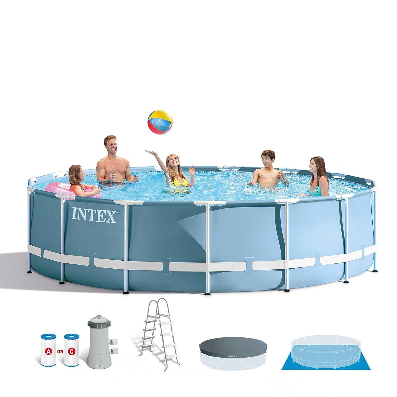 Amazon.com: Intex 15 Feet x 48 Inches Prism Frame Pool Set: Home ...
