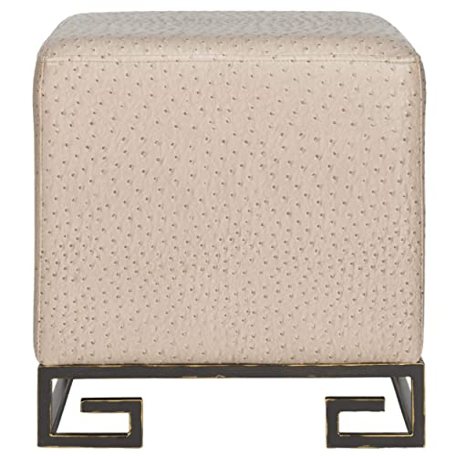Safavieh Home Collection Matthias Taupe Gold Faux Ostrich Ottoman