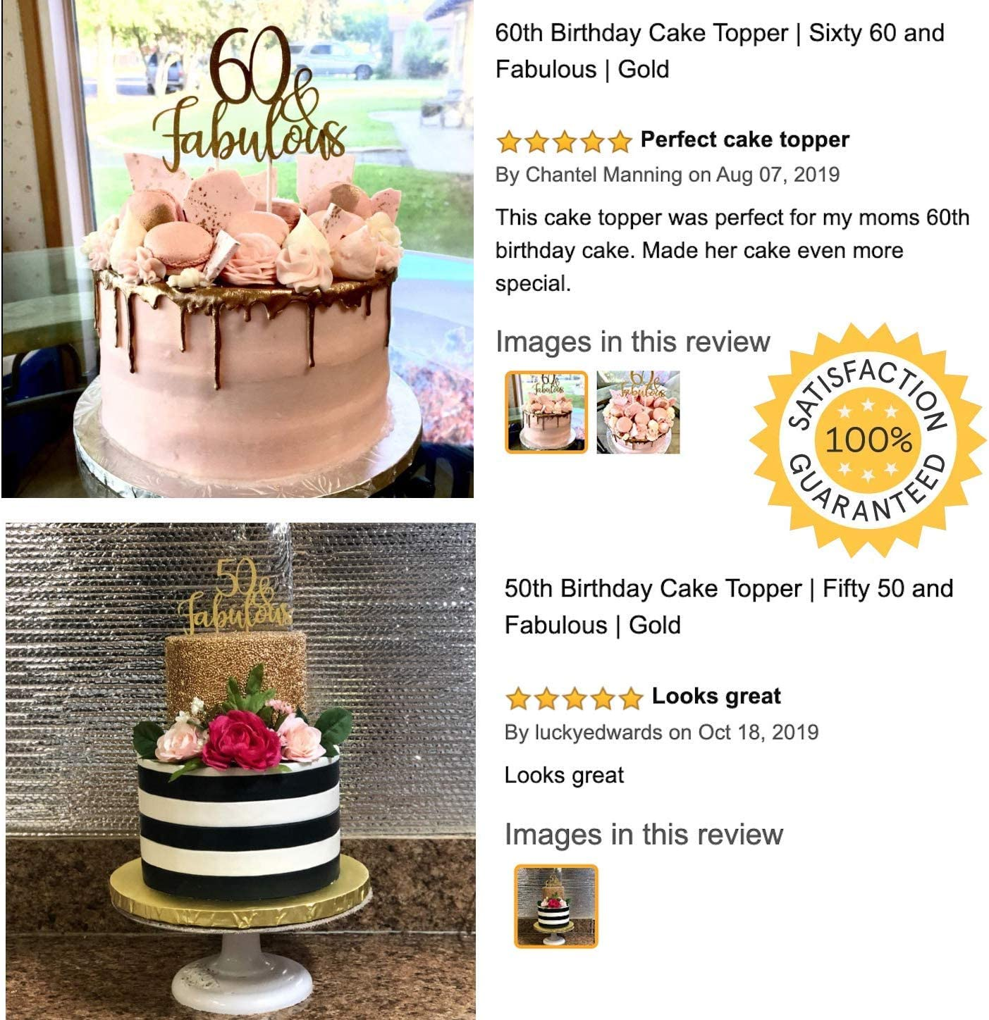 Tremendous Amazon Com 50Th Birthday Cake Topper Fifty 50 And Fabulous Funny Birthday Cards Online Overcheapnameinfo