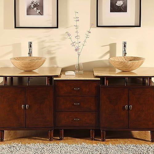 Antique Bathroom Vanity Double Sink LUX-H-833-74 : W73″ x D22″ x H37″