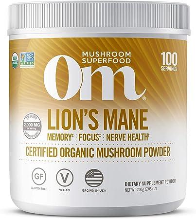 Om Organic Lions Mane Mushroom Powder, Memory Support, Focus, Clarity, Nerve Health, Superfood Mushroom Supplement, 2000mg dose (100 Servings) 7 Ounce
