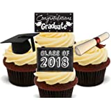 Graduation Congratulations Class of 2018 , Edible Cupcake Toppers - Stand-up Wafer Cake Decorations (Pack of 12)