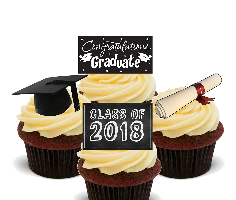 Graduation congratulations class of edible cupcake toppers