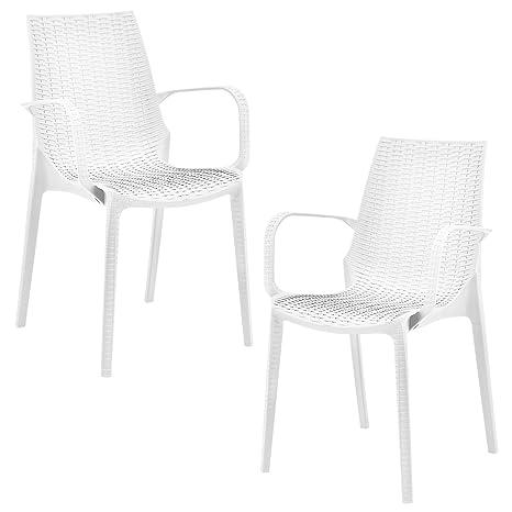 Bevorzugt casa.pro]® 2 x Stuhl in Rattan-Optik (Kunststoff) Gartenstuhl mit KY06