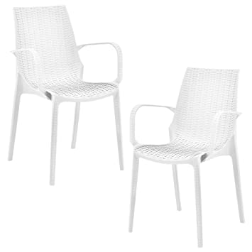 Casa Pro 2 X Stuhl In Rattan Optik Kunststoff Gartenstuhl Mit