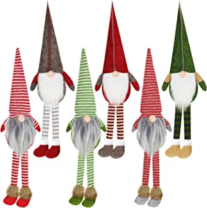WILLBOND 6 Pieces Christmas Plush Gnome Handmade Long-Legged Santa Gnome Decoration Christmas Swedish Figurines Santa Striped Gnome Doll for Christmas Decoration