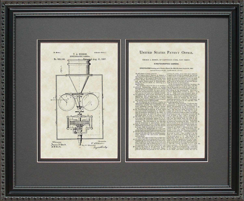 Movie Camera Patent Art Wall Hanging   Director Filmmaker Framed Print 16x20