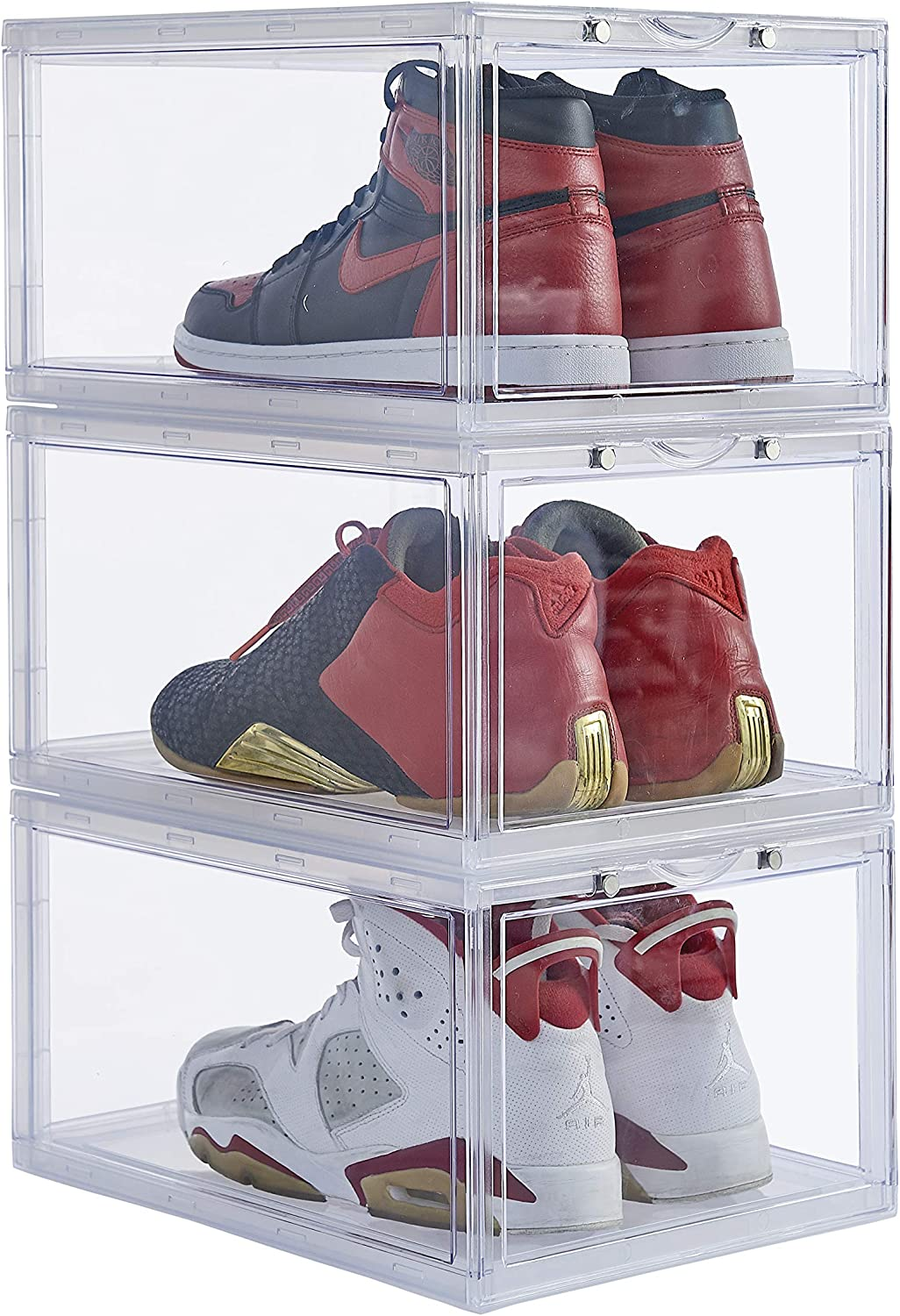 Stackable Shoe Organizer Clear Plastic 3 Pack Shoe Boxes for Display Shoes Sneakers Storage Clear