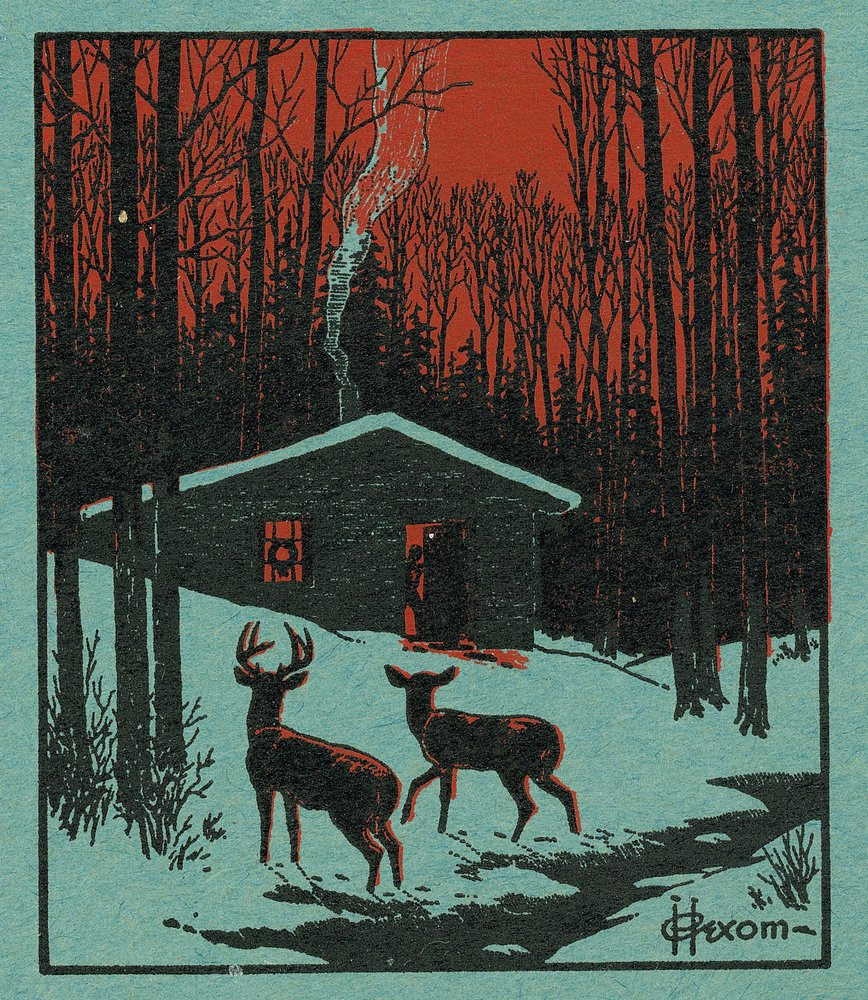 Nature Magazine – View of Deer in the Forest ;冬シーンwith aキャビン 36 x 54 Giclee Print LANT-30130-36x54 36 x 54 Giclee Print  B01MG3BQZO