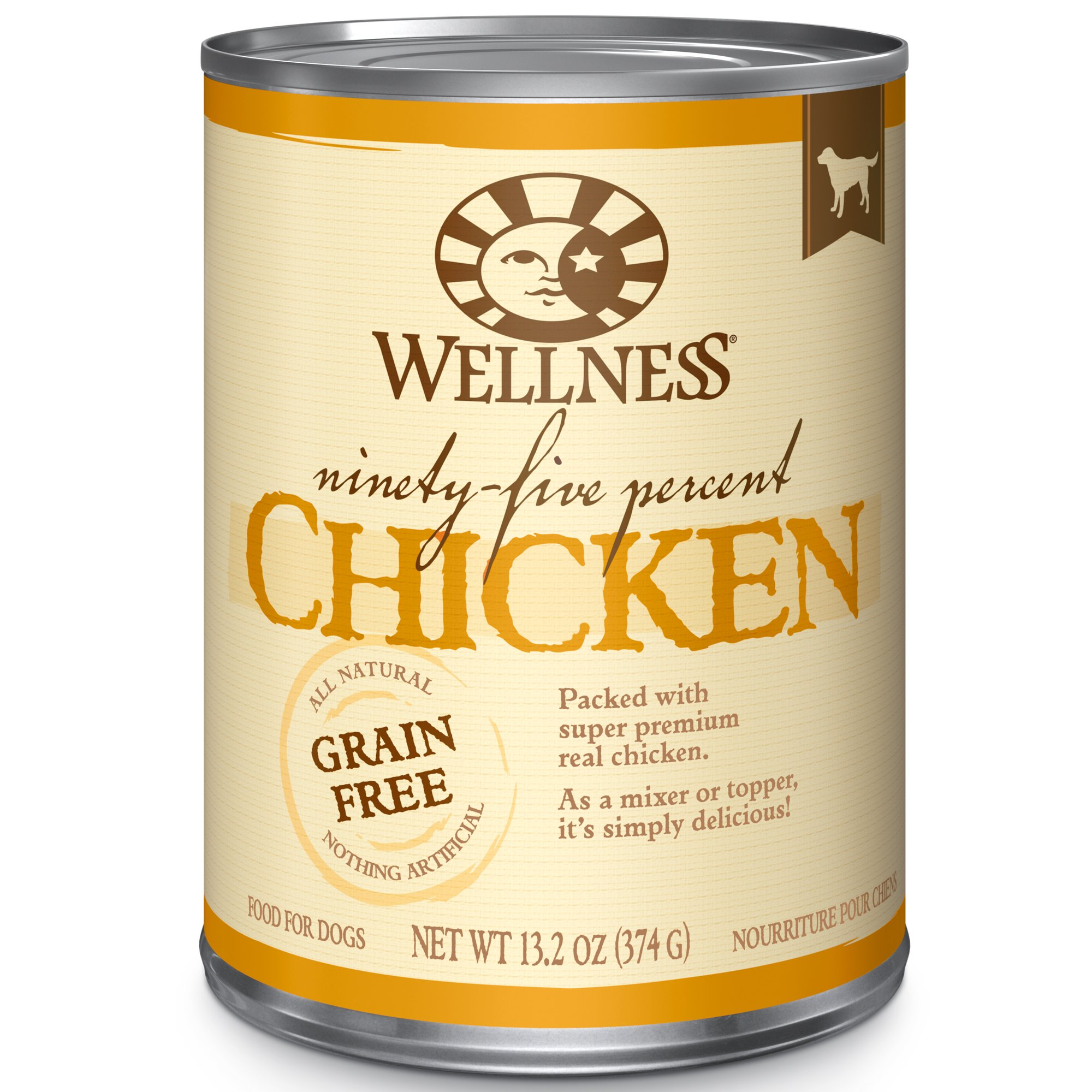 Wellness 95% Chicken Natural Wet Grain Free Canned Dog Food, 13.2-Ounce Can (Pack Of 12) by Wellness Natural Pet Food