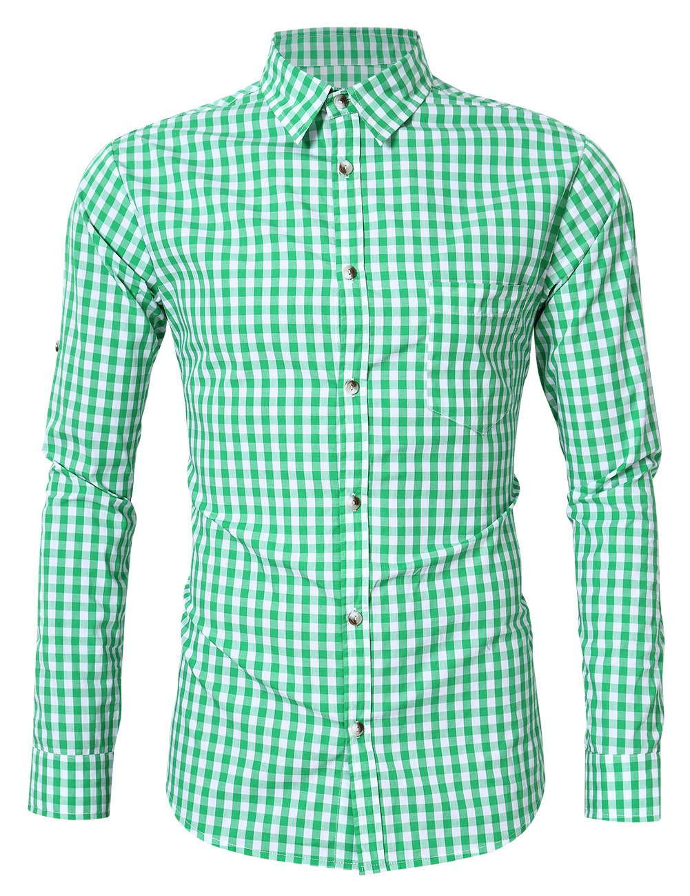 GloryStar Men's Casual Slim Fit Plaid Shirt Button Down Dress Shirts for German Bavarian Oktoberfest and Lederhosen HXX#BY*1260