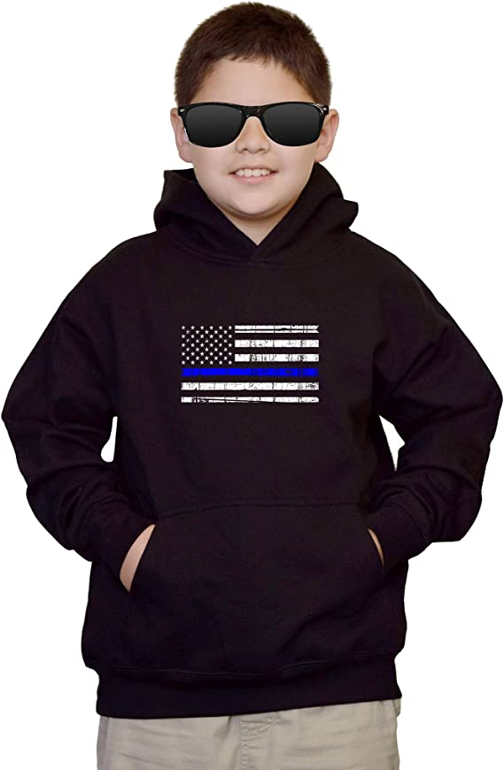 Support Police Toddler//Youth Fleece Hoodie Haase Unlimited Blue Line American Flag