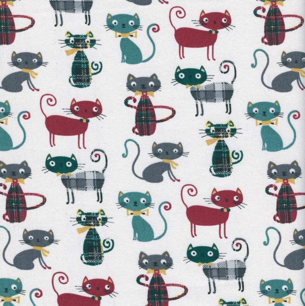 Tela de algodón estampada - Miau! tela gatos - burdeos, hierbabuena, gris hierro e tres tartans elegantes sobre un fondo blanco - 100% algodón suave | ancho: 160 cm (por metro lineal)*