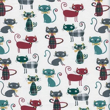 Tela de algodón estampada - Miau! tela gatos - burdeos, hierbabuena, gris hierro