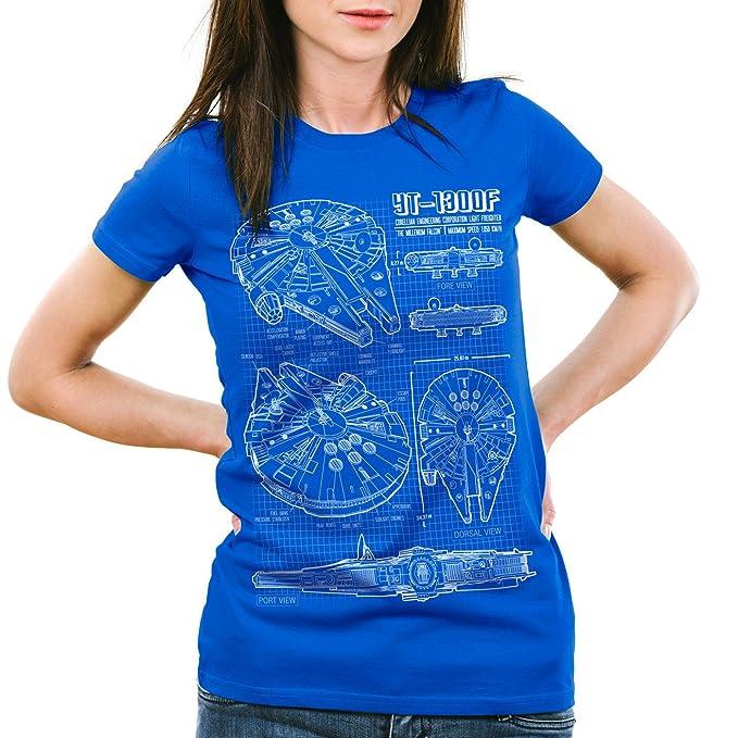 83bb4f25 style3 Millennium Falcon Womens T-Shirt Blueprint