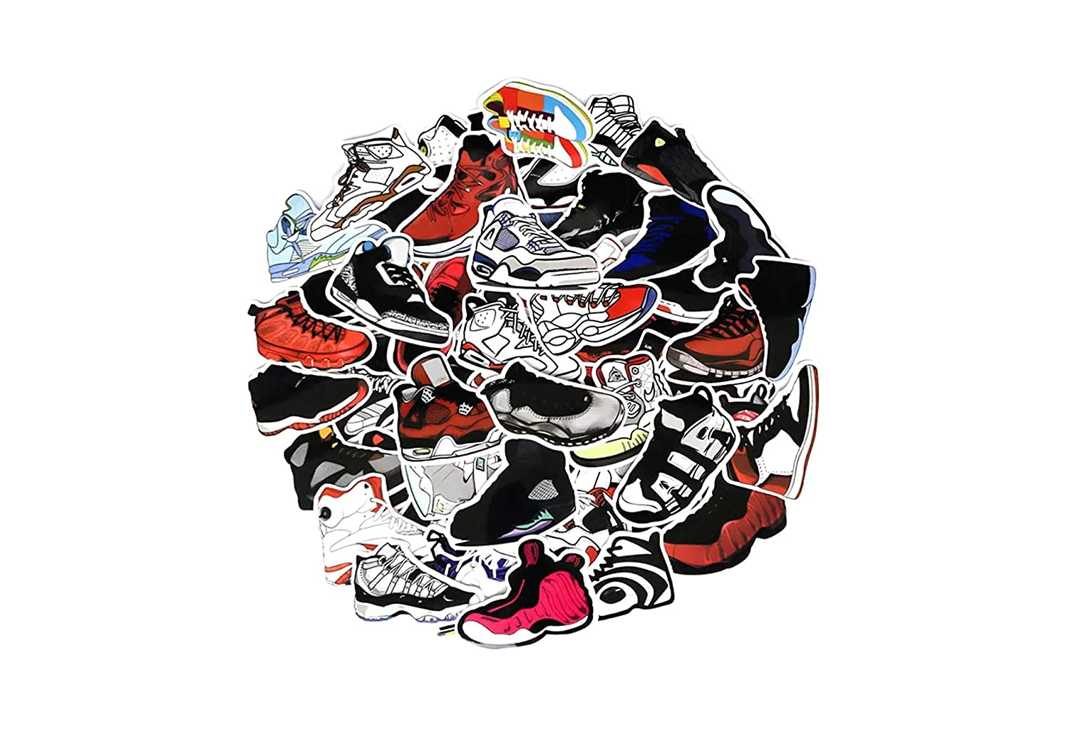 Amazon com pack of 60 waterproof sneaker stickers for car laptop luggage skateboard graffiti leaving no residue computers accessories