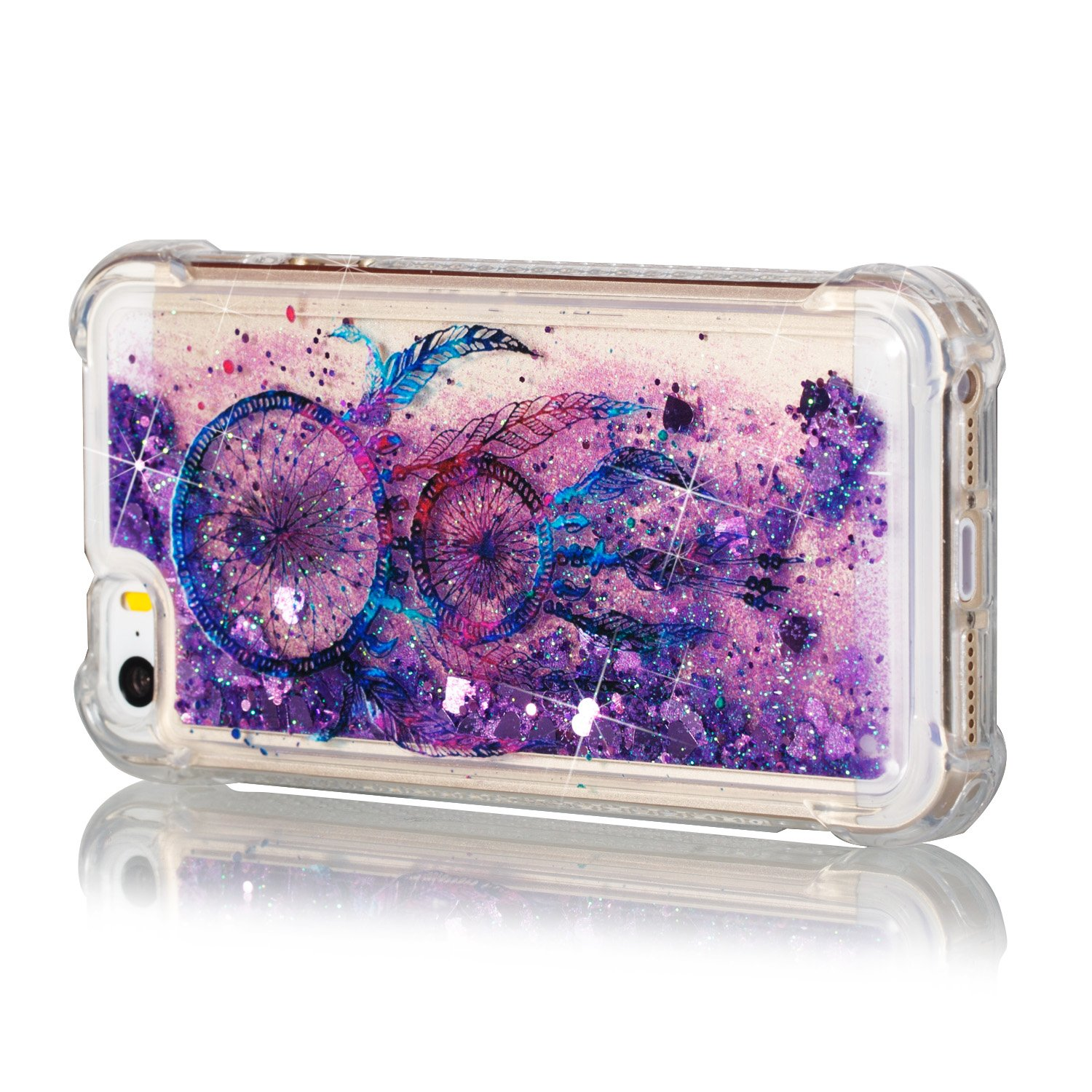 TOUCASA Funda iPhone 5S,Funda iPhone 5, Glitter Liquida Transparente TPU Silicona,Funda Móvil Case Líquido Quicksand Anti-arañazos Case Cover para iPhone ...