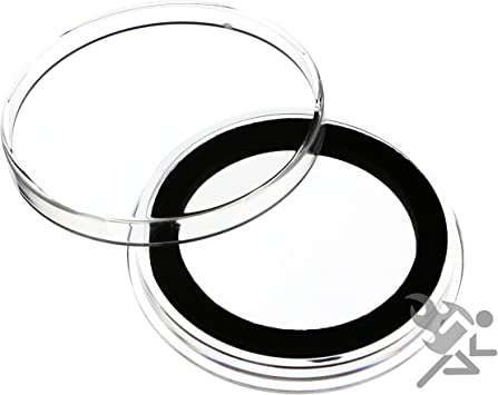(10) Air-tite X38mm Black Ring Coin Holder Capsules for 1oz Silver Maple Leaf & Canadian $8 Polar Bear