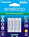 Panasonic BK-4MCCA4BA eneloop AAA 2100 Cycle Ni-MH Pre-Charged Rechargeable Batteries, Pack of 4