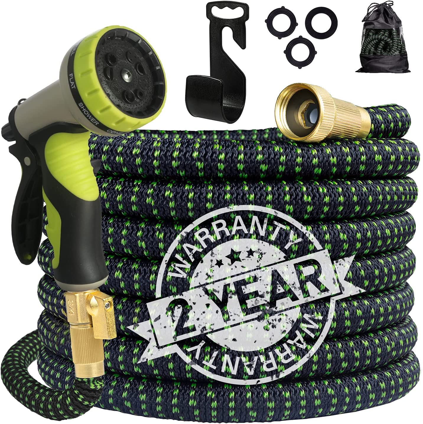 Gospire Hose 50ft Upgraded Leakproof Lightweight Expandable Garden Water Hose, Strongest Triple Latex Core with 3/4