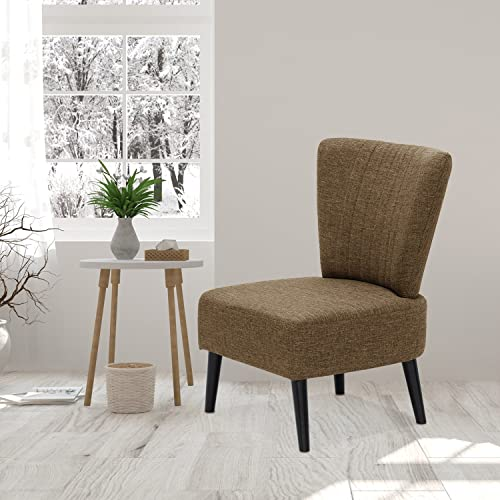 Furinno Euro Modern Armless Fabric Accent Chair, Brown