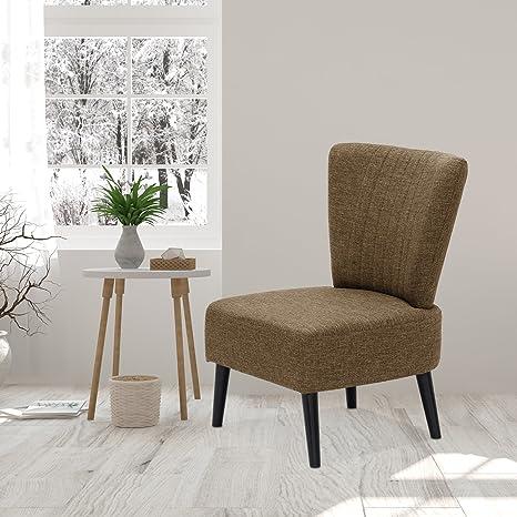 Furinno Euro Modern Armless Fabric Accent Chair, Brown SF201N26BR
