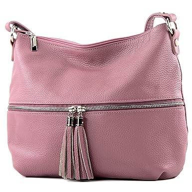 modamoda de - ital. Ledertasche Damentasche Umhängetasche Tasche Schultertasche Leder T159, Präzise Farbe:Schokoladenbraun modamoda de - Made in Italy