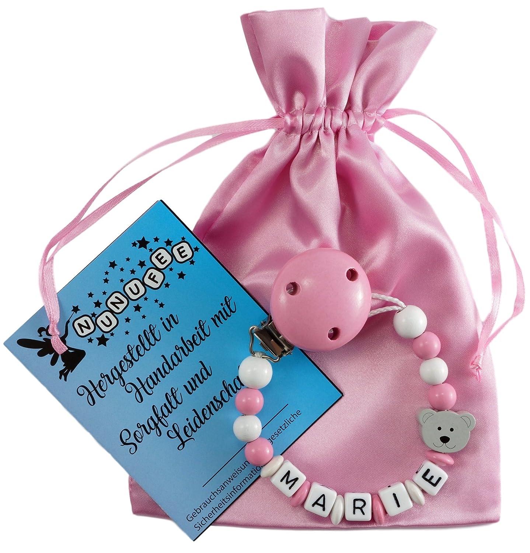 Personalisierte Schnullerkette mit Namen aus Holz in Rosa für Mädchen | verschiedene Designs verfügbar| perfektes Baby-Geschenk zur Geburt und Taufe (Design1) Nunufee