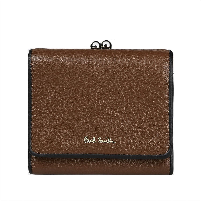 ポールスミス Paul Smith レディース 財布 マルチストライプ タブ がま口 2つ折り財布 B078NX84WC ブラウン ブラウン