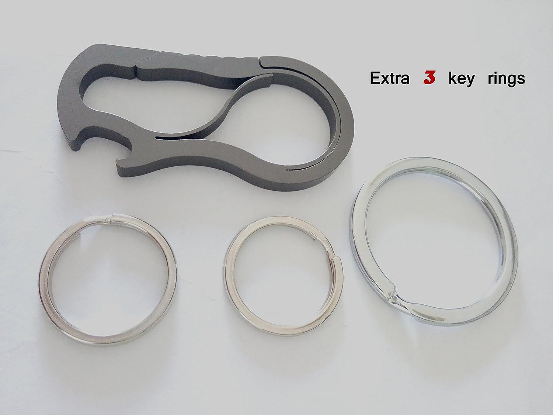 Traveling Keychain Hiking Vanlemn Full Stainless Steel Anti-Lost Key Chain Carabiner Bottle Opener Home Fishing Camping