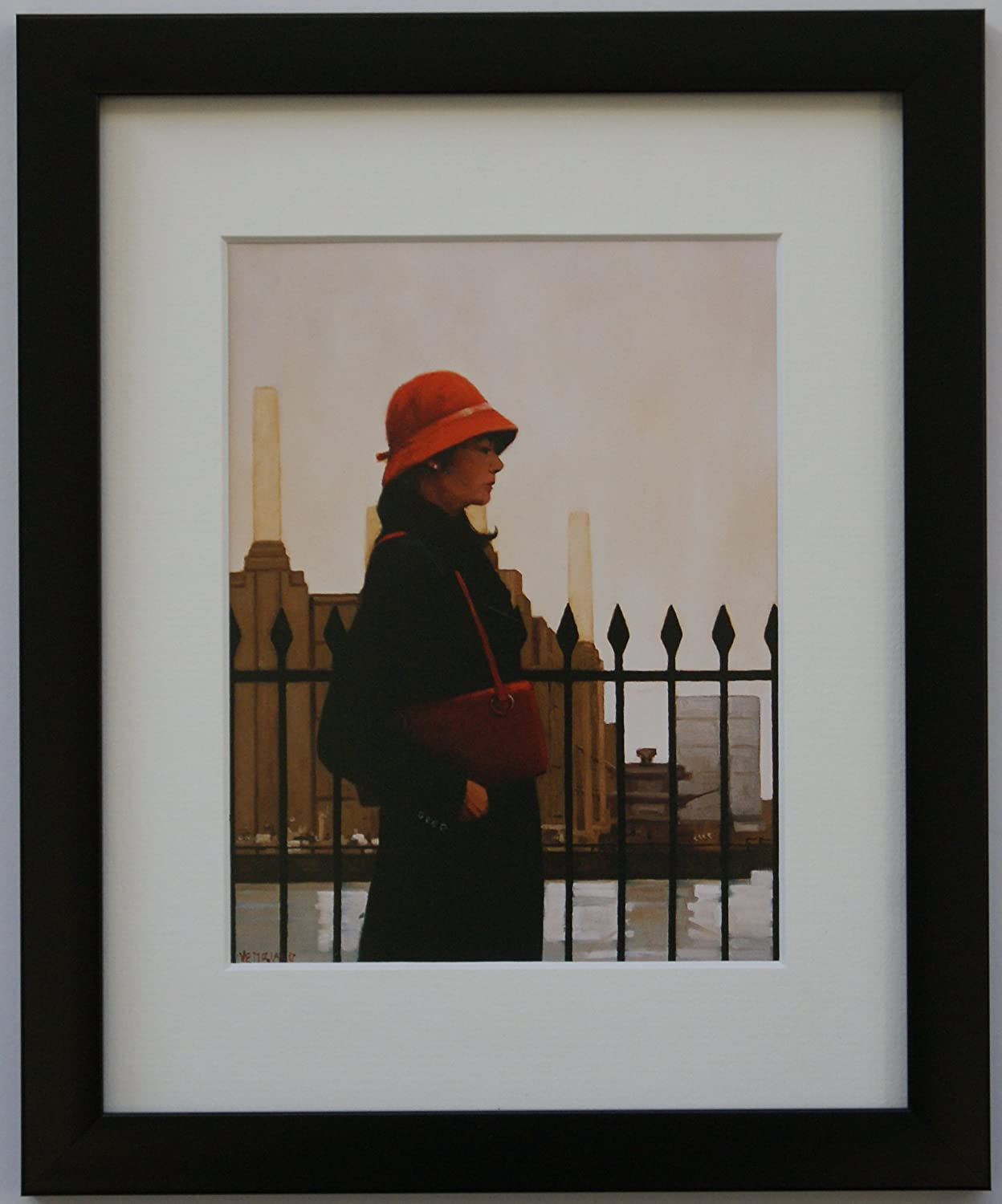Framed /& Mounted Print Thin Black FREE P+P In Thoughts of You Jack Vettriano