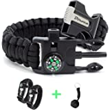 Paracord Bracelet Survival Gear - 550 Premium Black Parachute - Outdoor Emergency First Aid Tool Kit 5 in 1 w/ Compass, Fire Starter, Emergency Knife, Whistle & Rescue Rope - 2 PACK + Monkey KeyChain