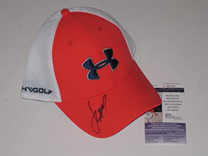36f879b7 Image Unavailable. Image not available for. Color: Jordan Spieth signed  White & Orange Under Armour Hat PGA Tour Golf ...
