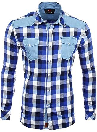 best service 2d095 44f05 Reslad Herren Hemd Männer-Hemd Kariertes Baumwollhemd Slim Fit Karo  Material-Mix Langarm Jeans RS-7202