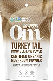 product image for Om Organic Mushroom Superfood Powder, Turkey Tail (50 Servings), Immune Support, Gut Health & Holistic Defense Supplement, 3.5 Ounce (Pack of 1)