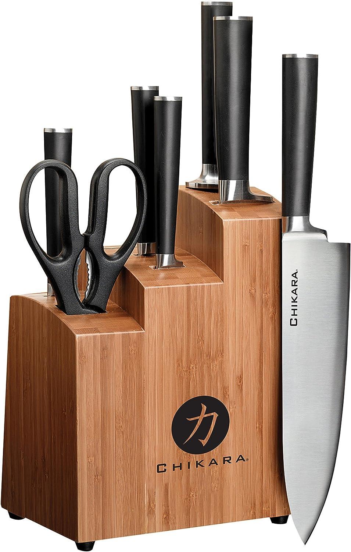 Ginsu Chikara Gourmet Serie forjado (acero Japonés juego de cuchillos – juego de cubiertos con 420J acero inoxidable cuchillos de cocina – acabado de bambú bloque, 07250ds: Amazon.es: Hogar