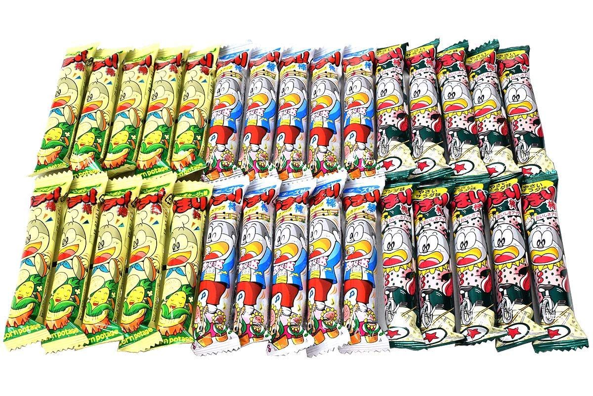 Umaibo, Japanese popular snack food. Corn Potage, Cheese, Salada taste,total 30 pcs. No.a318