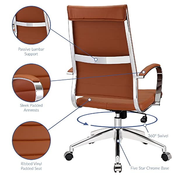 Modway Jive Ribbed High Back Executive Office Chair, Terracotta Vinyl