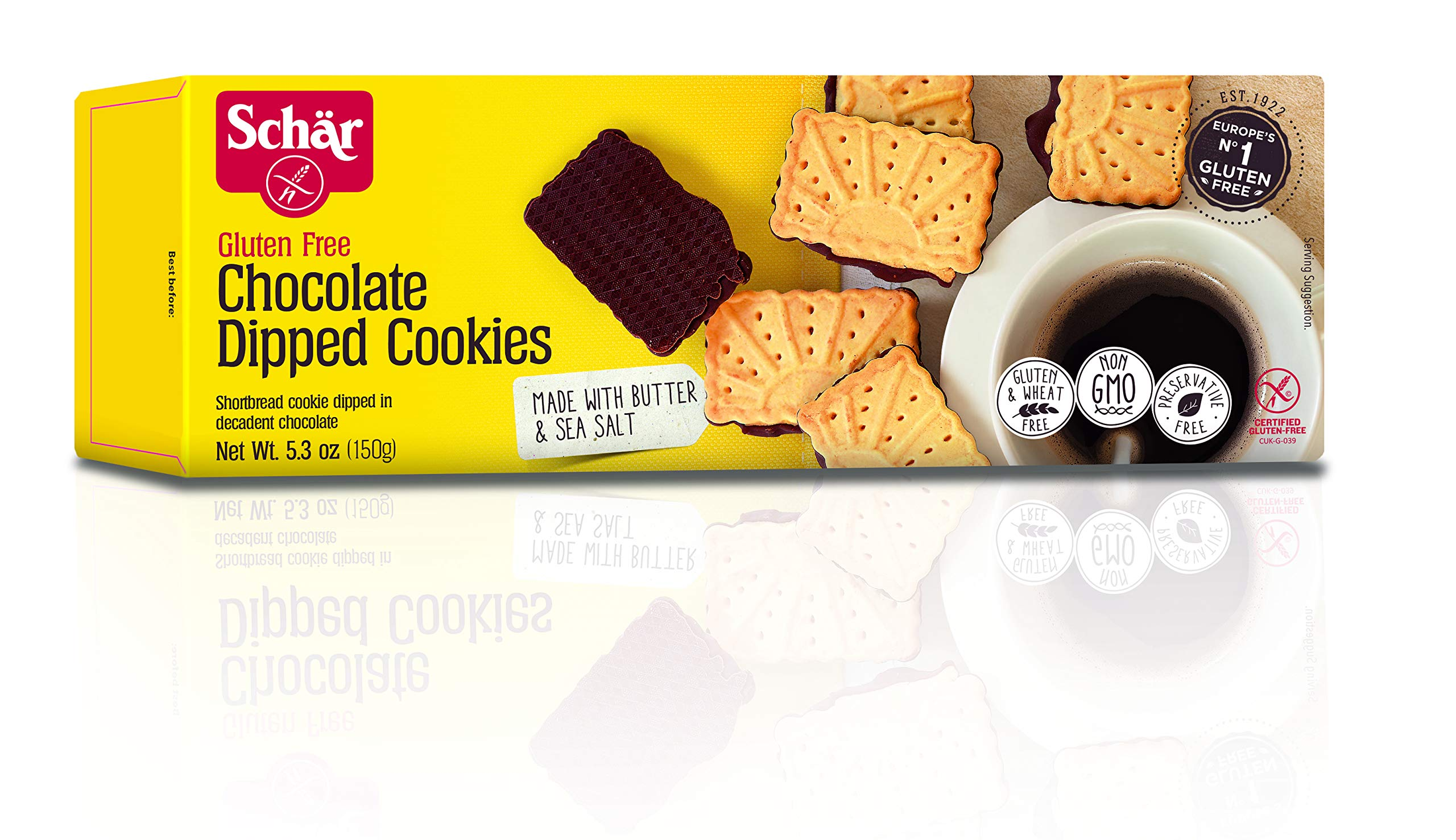Schär Gluten Free Chocolate Dipped Cookies, 5.3 oz. Box, 4-Pack by Schar