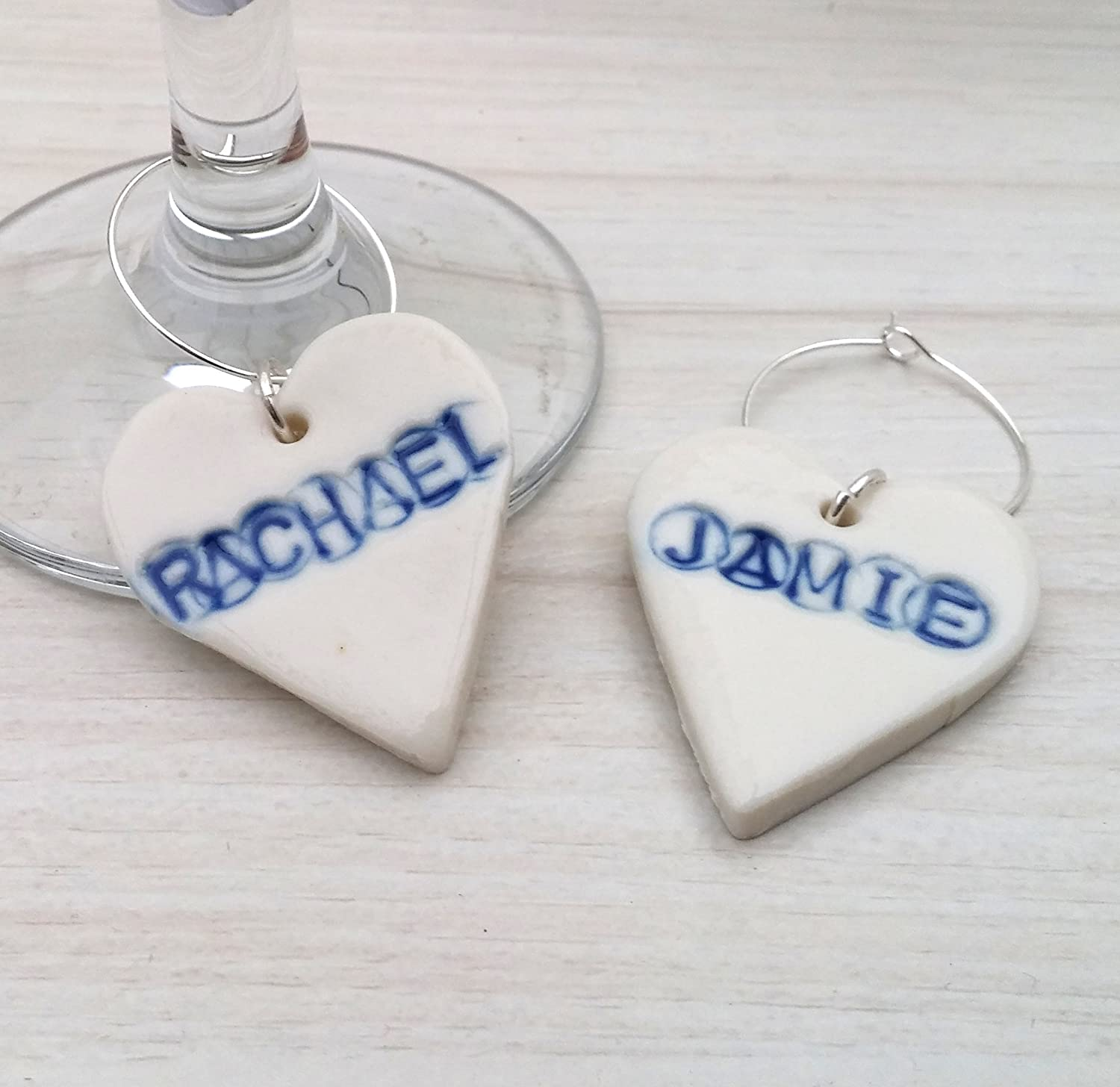 Amazon.com: Personalized Wine Glass Charms - Personalized Wedding ...