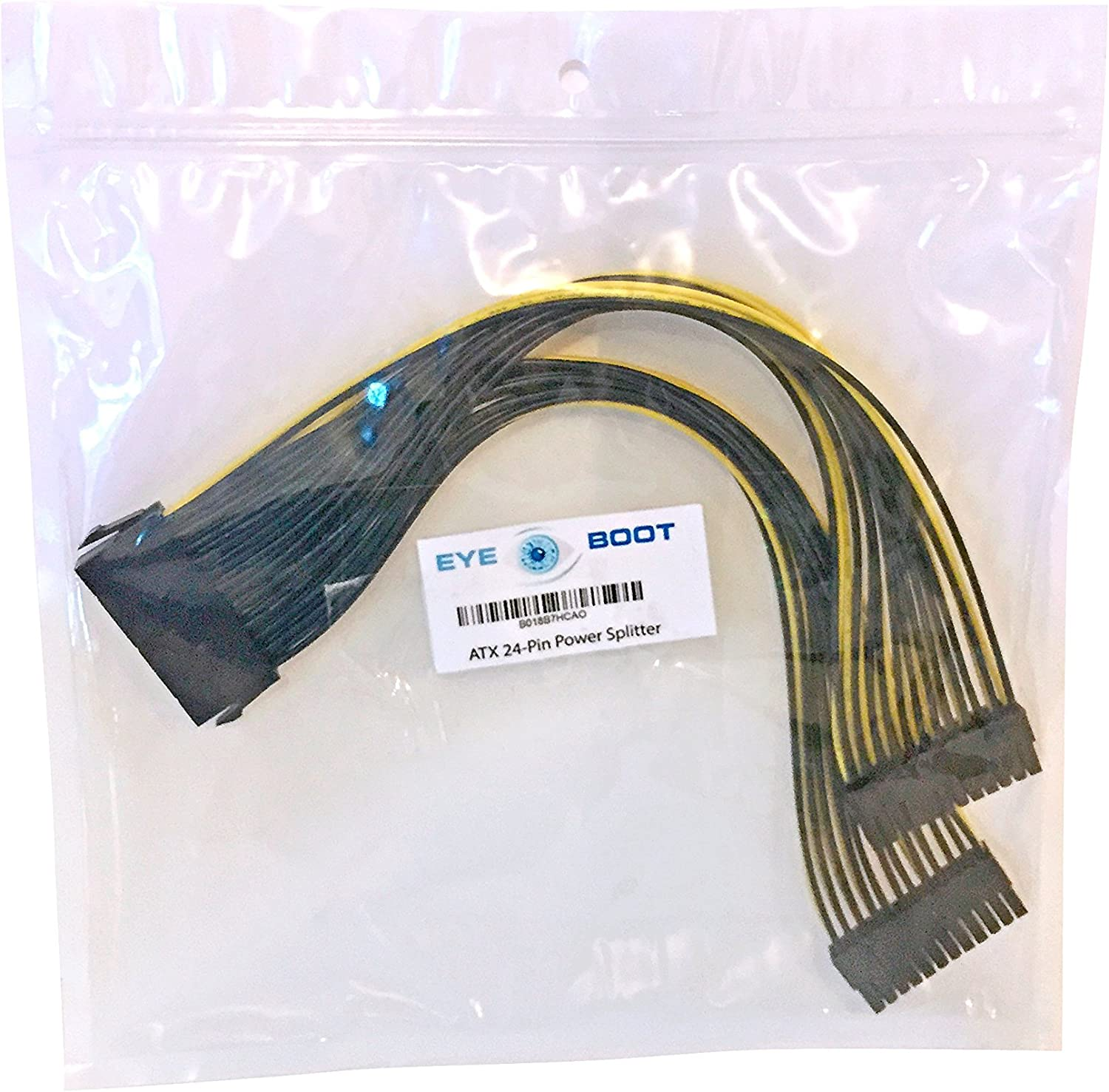 """NEW UNEVEN  ATX 20 PIN  Y SPLITTER POWER CABLE--8/""""+16/""""    MADE IN USA"""