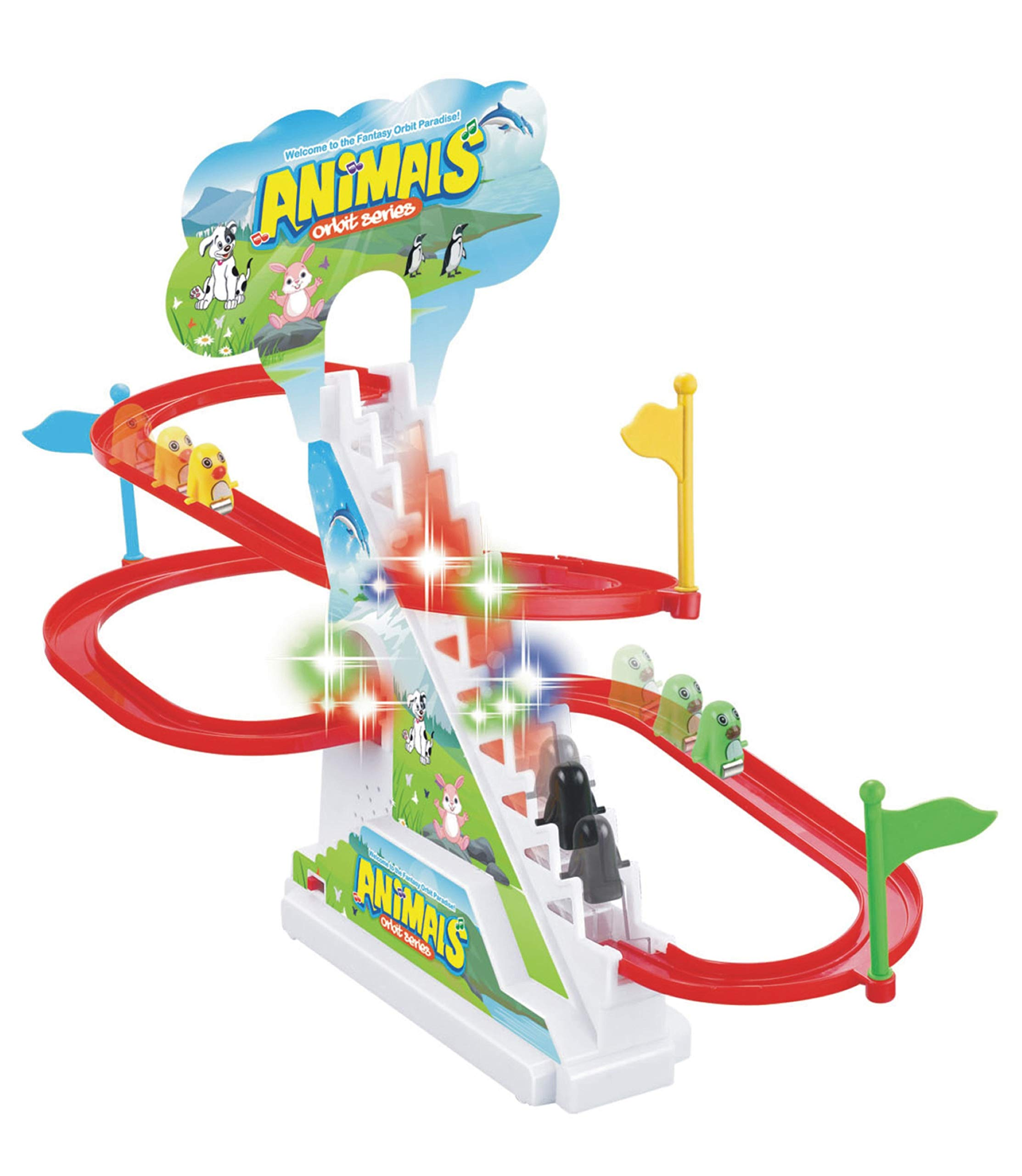 Popsugar TH1112E Happy Penguin Race Track Set with Music and Lights, Multicolor