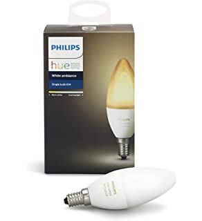 Philips Hue White Ambiance E12 Decorative Candle 6W Equivalent Dimmable LED Smart Bulb (Compatible with