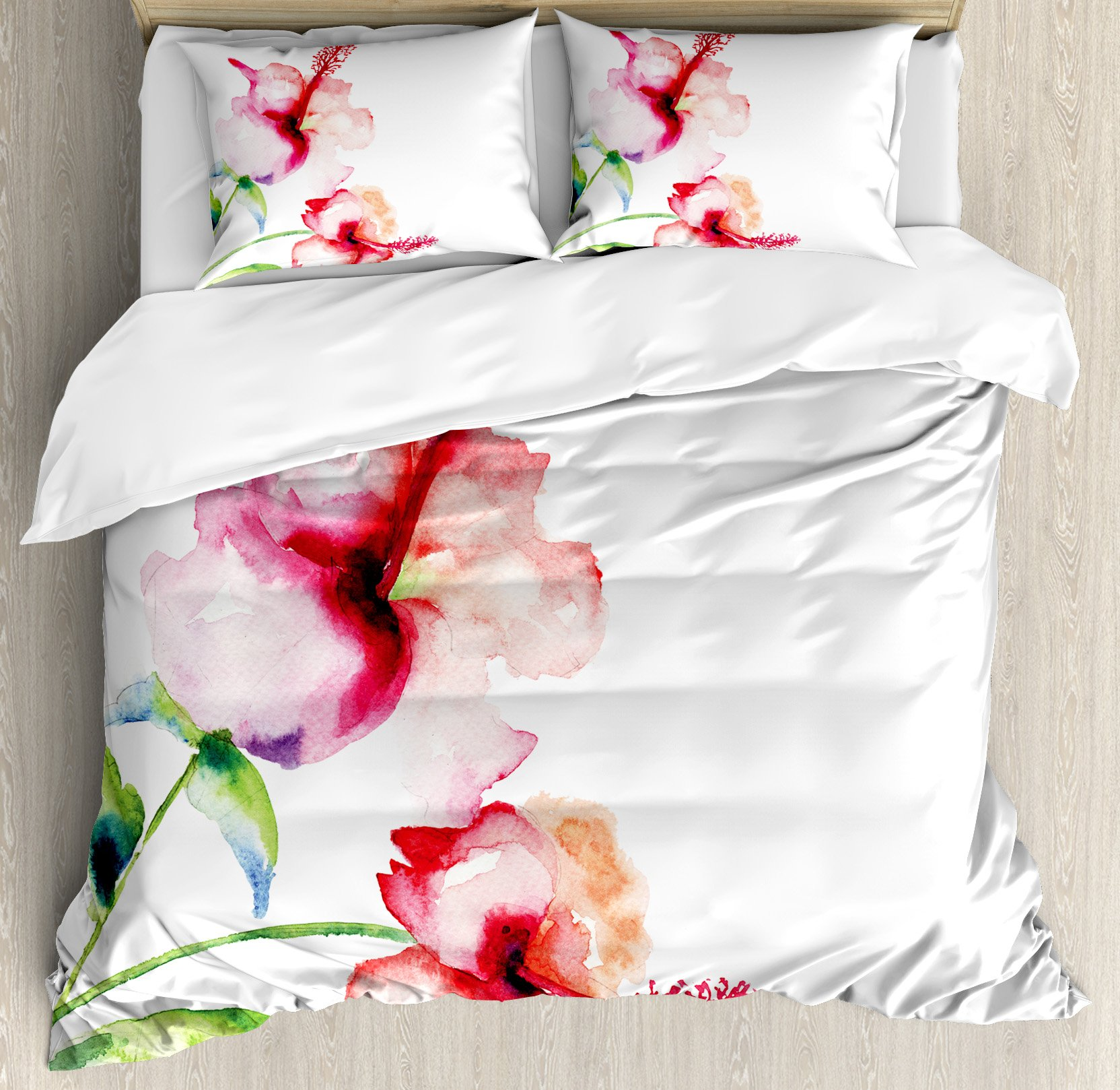 Ambesonne Watercolor Flower Duvet Cover Set King Size, Hibiscus Flowers on Plain Background in Pastel Colors Nature Home Decor, Decorative 3 Piece Bedding Set with 2 Pillow Shams, White Red Green