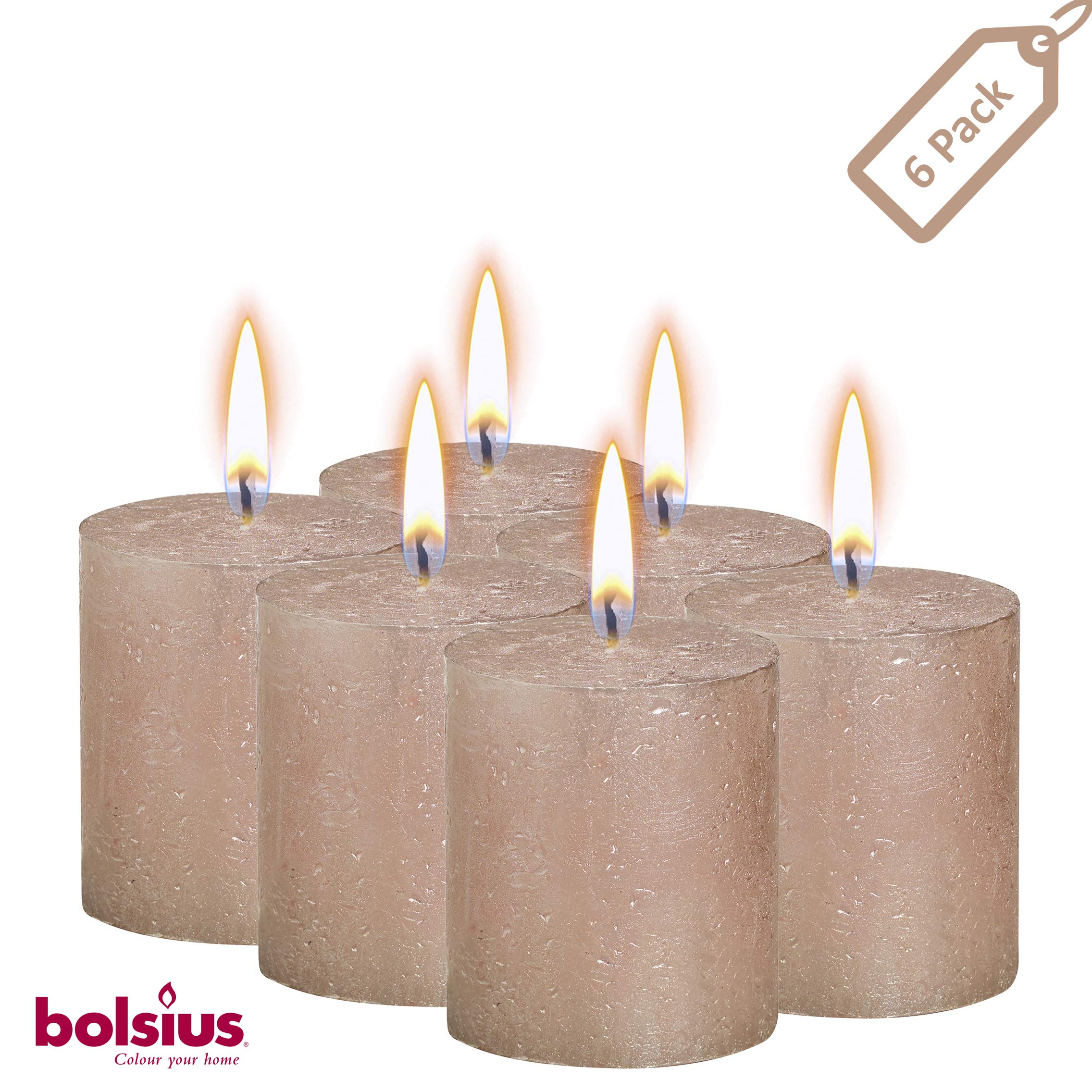 BOLSIUS Rustic Full Metallic Rose Gold Candles – Set of 6 Unscented Pillar Candles – Rose Gold Candles with a Full Metallic Coat – Slow Burning – Perfect Décor Candle – 80/68m 3.25X 2.75 Inches by BOLSIUS (Image #1)