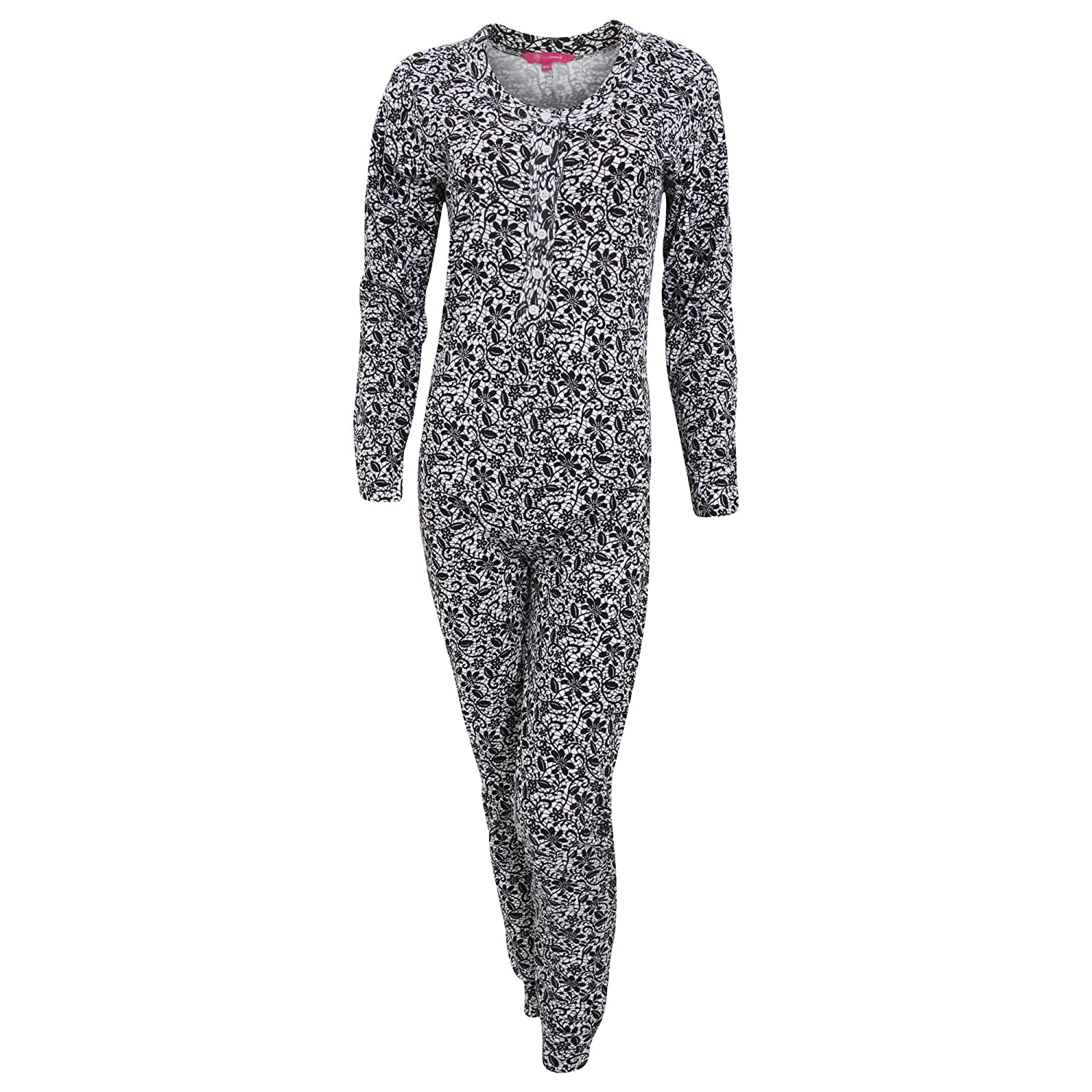 Universal Textiles Womens/Ladies Thermal Floral Mosaic Pattern All In One Bodysuit UTTHERM143_2