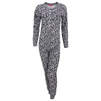 Womens Ladies Thermal Floral Mosaic Pattern All in One Bodysuit (Small (10- 97db5f9f4